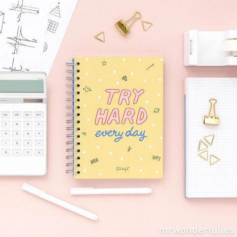 Libreta Pequeña - Try hard every day Mr. Wonderful