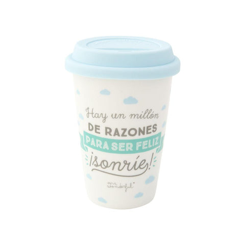 Taza Take Away - Hay un millón de razones para ser feliz ¡ Sonríe! Mr. Wonderful I MR.WONDERFUL