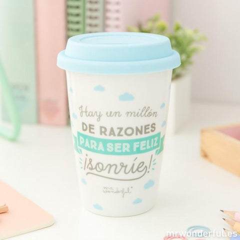 Taza Take Away - Hay un millón de razones para ser feliz ¡ Sonríe! Mr. Wonderful