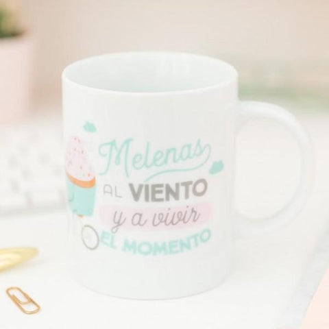 "Taza ""Melenas al viento y a vivir el momento"" Mr. Wonderful"
