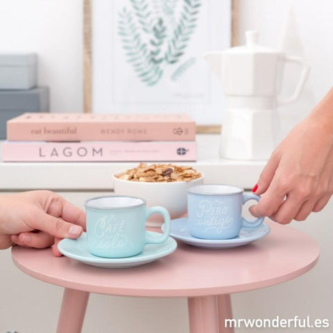 Set de 2 tazas espresso - Café solo, pero contigo Mr. Wonderful I MR.WONDERFUL
