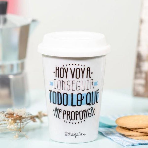 "Taza Take Away ""Hoy voy a conseguir todo lo que me proponga"" Mr. Wonderful - MR.WONDERFUL"