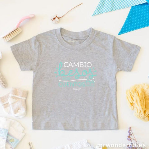 "Camiseta niño - ""Cambio besos por cuentos"" talla 2 - MR.WONDERFUL"