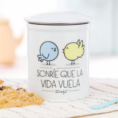"Taza de té ""Sonríe que la vida vuela"" Mr. Wonderful"