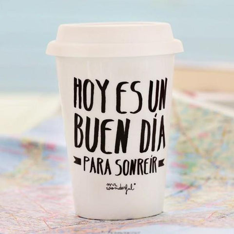 "Taza Take Away ""Hoy es un buen día para sonreír"" Mr. Wonderful I MR.WONDERFUL"