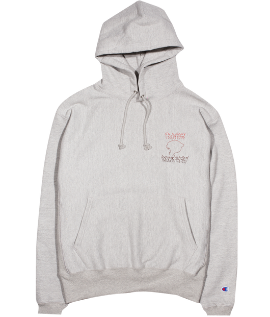 HEATHER GREY RP© FLAMES LOGO REVERSE WEAVE CHAMPION HOODY
