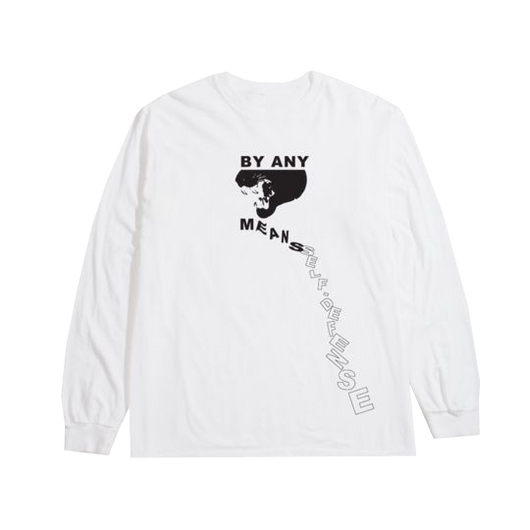 RP© PANTHER BY ANY MEANS L/S TEE WHITE
