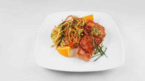 TUESDAY: Coho Salmon with Orange Zest Brown Butter and Rice Noodles
