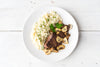 Steak Night! Seared Bavette with Mushroom Sauce and Parmesan-Herbed Rice