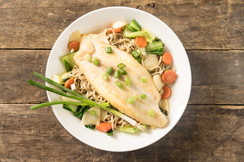 Tuesday: Seared Swai, Sauteed Veggies & Umi Noodles in Ginger & Miso Broth