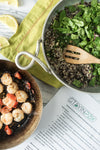 Tuesday: Sauteed Shrimp Over Pesto Quinoa with Baby Spinach