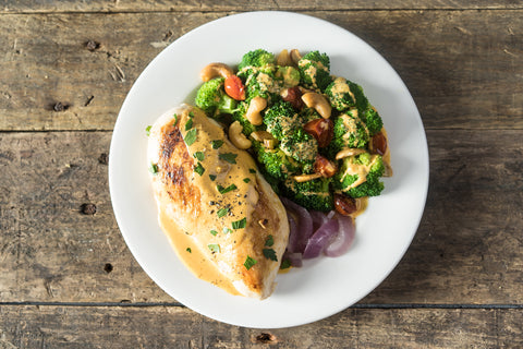 FRIDAY: Ginger Chicken with Steamed Broccoli, Pickled Red Onion and Cashew Cream Sauce