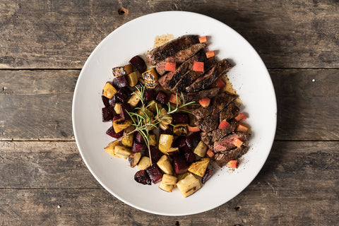 Wednesday: Steak Night! Marinated Bavette & Roasted Root Veggies