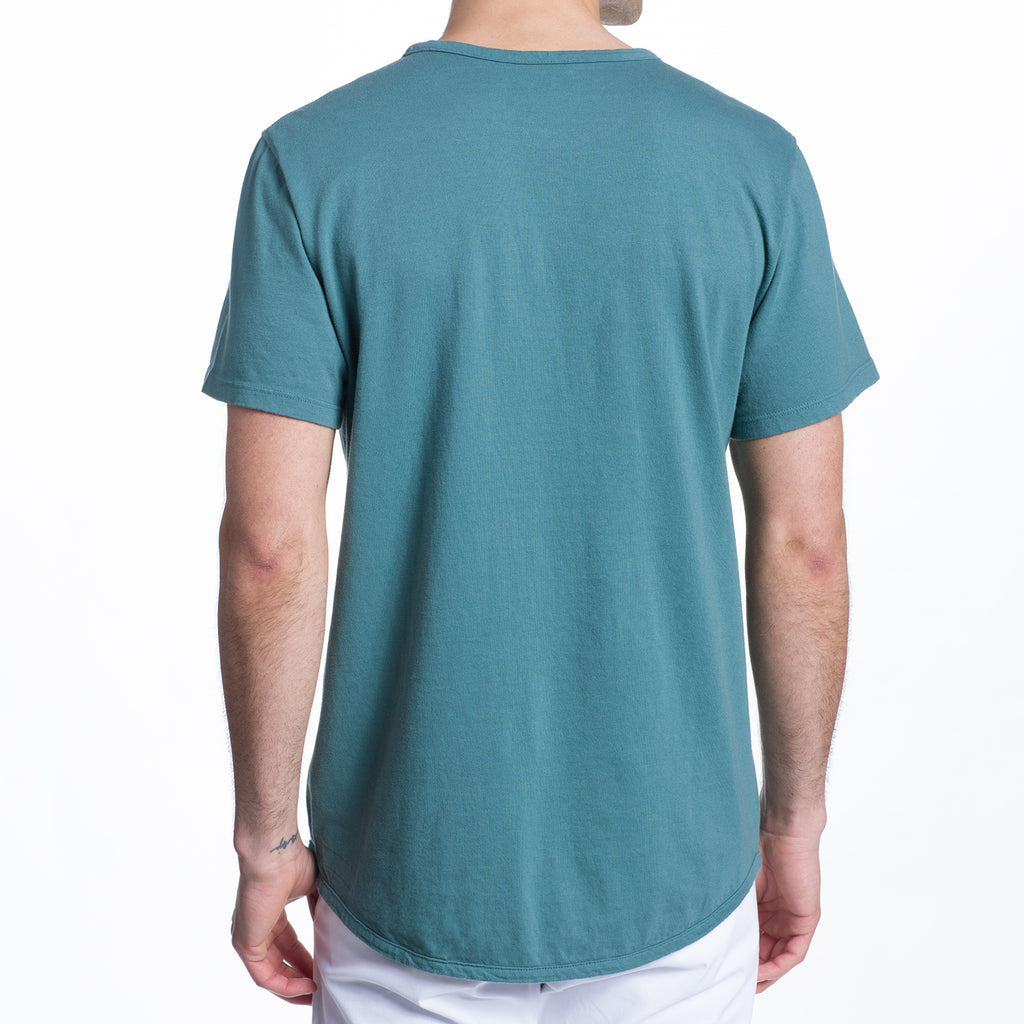 THE 100% MADE IN THE USA SS POCKET TEE - AQUA