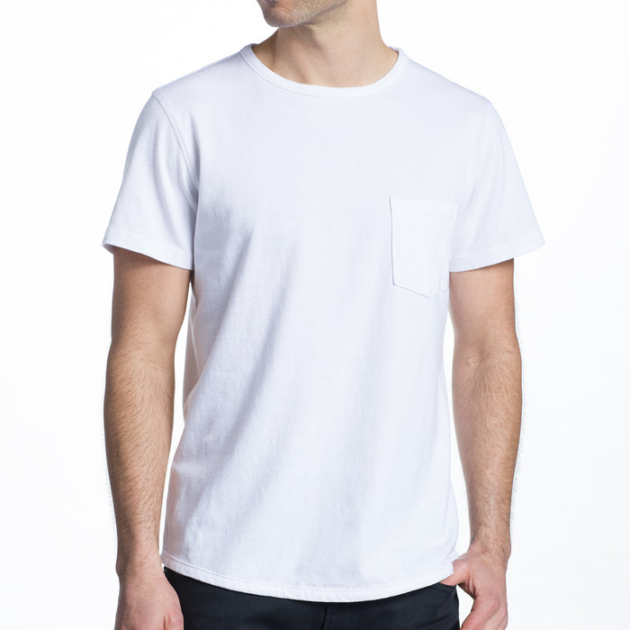 THE 100% MADE IN THE USA SS POCKET TEE - CRISP WHITE