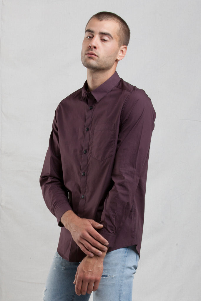 The LS Printed Mini Geo shirt in Maroon