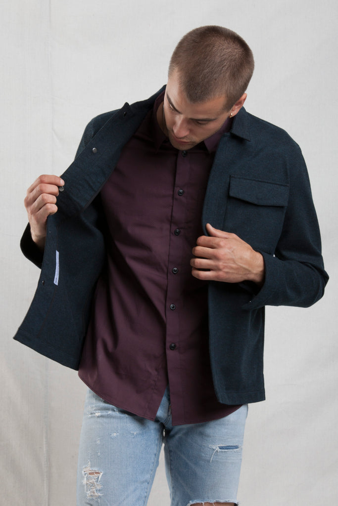 The Comfy ShirtJack in Heather Navy