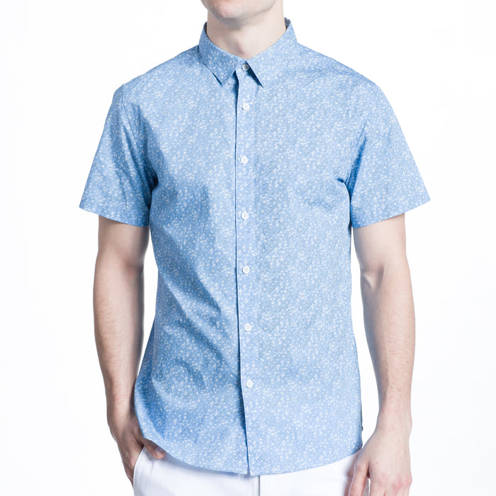 The Mini Print Floral Shirt in Light Blue