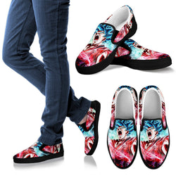 (DBMerch) SSGSS Kaioken Goku Slip On Shoes (Black)