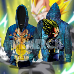 (DBMerch) SSJ Blue Vegeta Zipper Hoodie