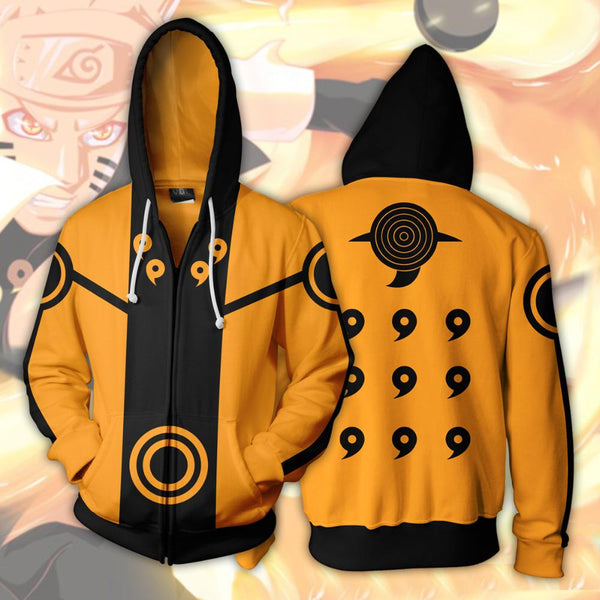 Black & Orange Naruto Uzumaki Zipper Hoodie