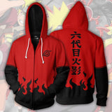 Red & Black Konoha Zipper Hoodie