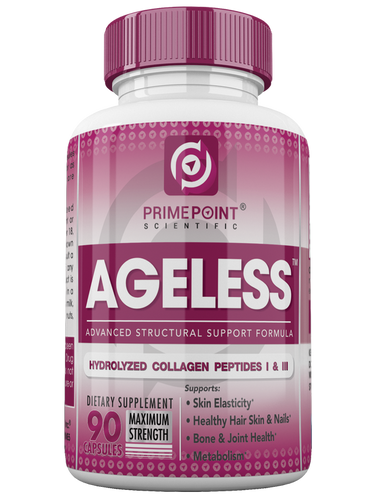 AGELESS Hydrolyzed Collagen Peptides Capsules, Type 1 & Type 3, for Improved Skin Elasticity; Hair, Skin & Nails; Metabolism; Bone & Joint Health