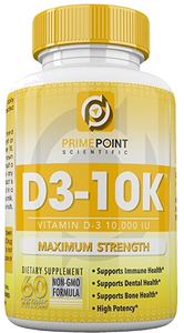 D3-10K Maximum Strength Vitamin D3 10,000 iu supports: Bone Health, Dental Health and Immune Health 60 Softgels 2 Month Supply Great Value