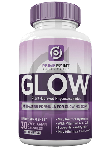 GLOW Plant-Derived Phytoceramides: BEST Anti-Aging Renewal Formula for Healthy Skin, Erases Fine Lines & Wrinkles Hydrates & Restores Skin, Ceramides from Rice Vitamins A,C,D,E 30 Capsules