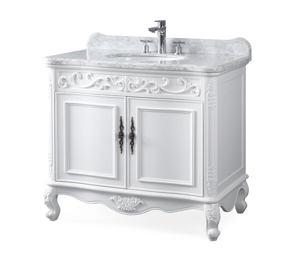"39"" Bathroom Vanity with Italian Carrara Marble Counter-top Benton Collection Carbone  # ZK-1092RA"