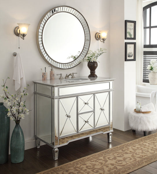 "44"" Adelia Bathroom Vanity & Mirror Set  DH13Q355-MR-2373 Kesha - Chans Furniture - 2"