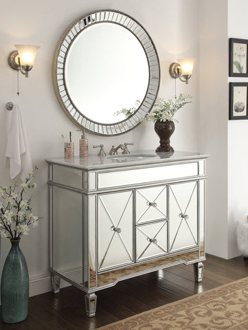 "40"" Adelia Bathroom Vanity & Mirror Set DH-13Q332-MR2373 Kesha - Chans Furniture - 1"