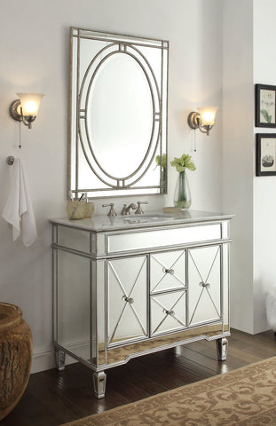 "40"" Adelia Bathroom Vanity & Mirror Set  DH-13Q332-MR2385 Ravalli - Chans Furniture - 1"