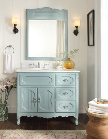 "42"" Victorian Cottage Style Knoxville Bathroom sink vanity Model GD-1509BU-42BS-MIR - Chans Furniture - 1"