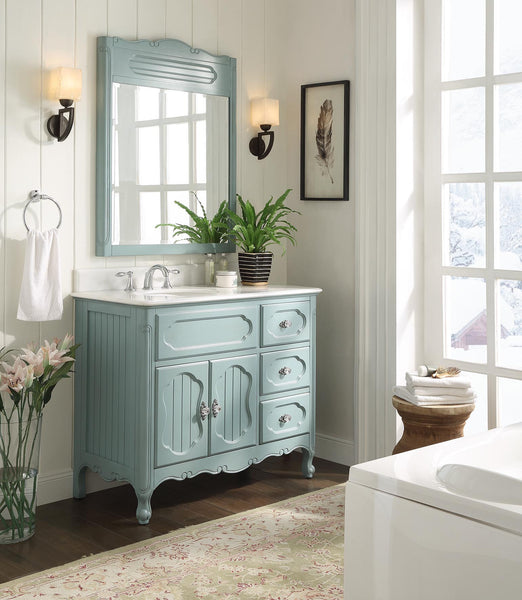 "42"" Victorian Cottage Style Knoxville Bathroom sink vanity Model GD-1509BU-42BS-MIR - Chans Furniture - 3"