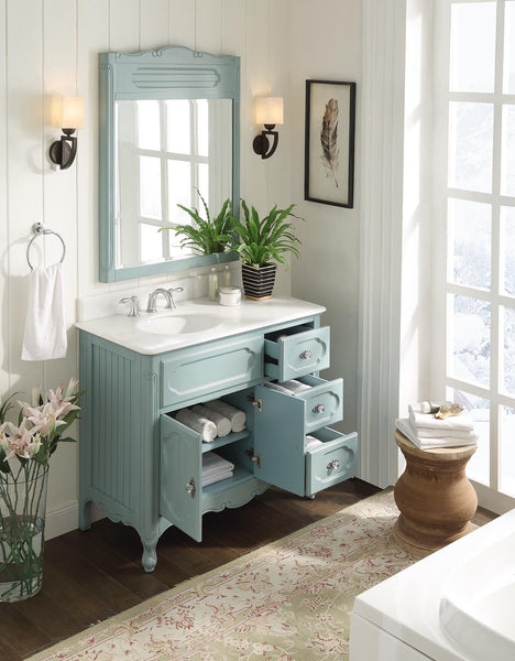 "42"" Victorian Cottage Style Knoxville Bathroom sink vanity Model GD-1509BU-42BS-MIR - Chans Furniture - 2"
