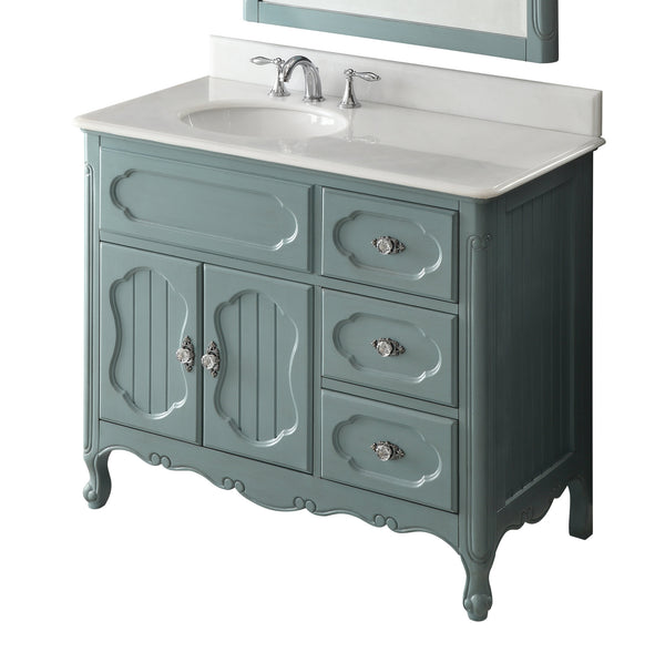 "42"" Victorian Cottage Style Knoxville Bathroom sink vanity Model GD-1509BU-42BS-MIR - Chans Furniture - 5"