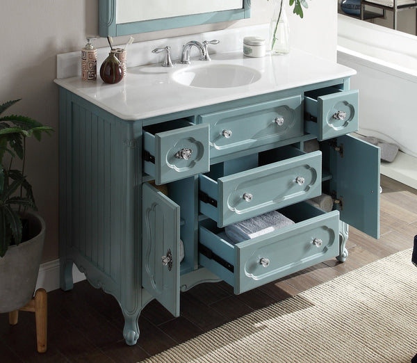 "48"" Victorian Cottage Style Knoxville Bathroom sink vanity Model GD-1522BU-48BS-MIR - Chans Furniture - 4"