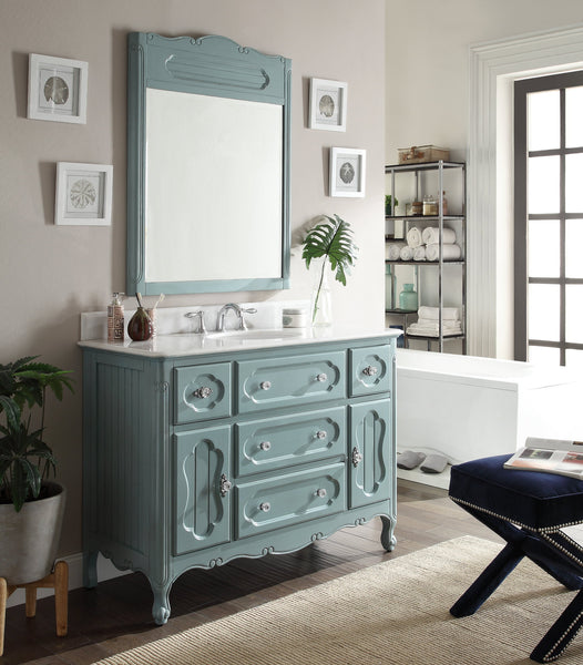 "48"" Victorian Cottage Style Knoxville Bathroom sink vanity Model GD-1522BU-48BS-MIR - Chans Furniture - 3"