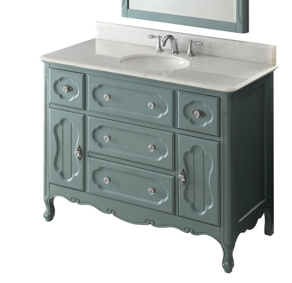 "48"" Victorian Cottage Style Knoxville Bathroom sink vanity Model GD-1522BU-48BS-MIR - Chans Furniture - 5"