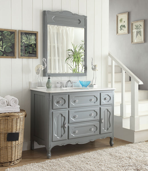 "48"" Victorian Cottage Style Knoxville Bathroom sink vanity Model GD-1522CK-48BS-MIR - Chans Furniture - 2"