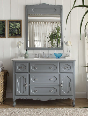 "48"" Victorian Cottage Style Knoxville Bathroom sink vanity Model GD-1522CK-48BS-MIR - Chans Furniture - 1"