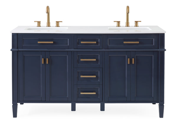 "60"" Tennant Brand Durand Modern Navy Blue Double Sink Bathroom Vanity GD-1808-D60NB"