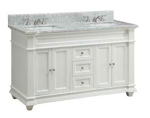 "60"" Italian Carrara Marble Double Sink Kendall Bathroom Sink Vanity HF-1085 - Chans Furniture - 1"