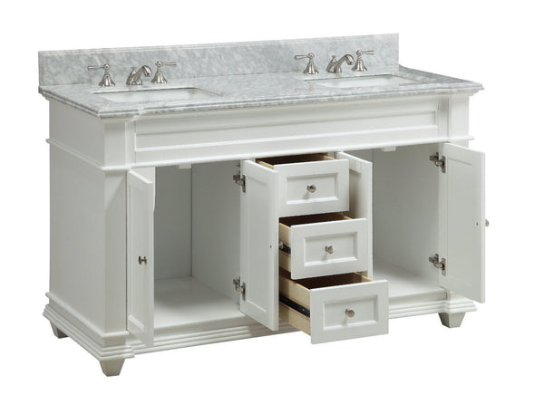 "60"" Italian Carrara Marble Double Sink Kendall Bathroom Sink Vanity HF-1085 - Chans Furniture - 2"