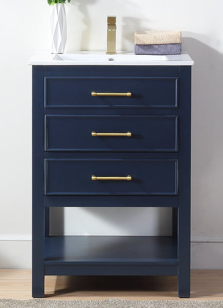 "24"" Tennant Brand Aruzza Small Slim Narrow Navy Blue Bathroom Vanity 2822-V24NB"