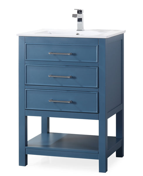 "24"" Tennant Brand Aruzza Small Slim Narrow Teal Blue Bathroom Vanity 2822-V24TB"