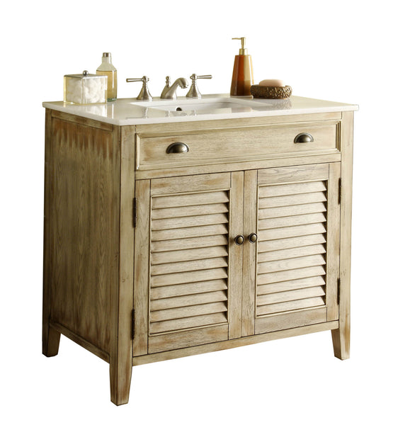 "36"" Distress beige Shutter Blinds Abbeville Bathroom Sink Vanity CF-28324 - Chans Furniture - 2"