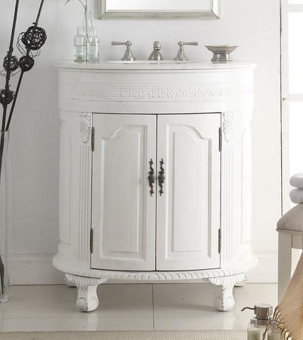"32"" Attractive Classic Versailles Bathroom Sink Vanity  model #  CF-2869W-AW - Chans Furniture - 1"