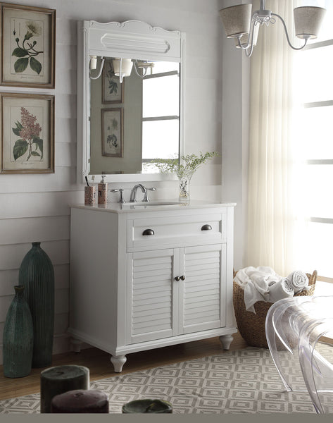"34"" Cottage look White Glennville Bathroom Sink Vanity & mirror  Model CF-28667W-MIR - Chans Furniture - 2"